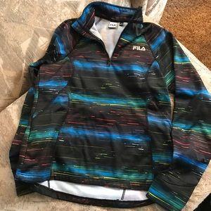 Fila | NWT Neon Striped Quarter Zip Pullover SizeL